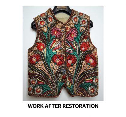Sheepskin Vest embroidered with silk threads